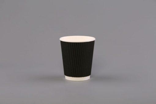 8oz Juodi trisieniai gofruoti puodeliai